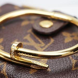 Jewelry - Men's White Topaz Encrusted Gold Nail Bracelet